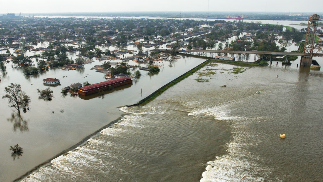 Aerial photo of south breach of Inner Harbor Navigation Canal Floodwall during Hurricane Katrina.